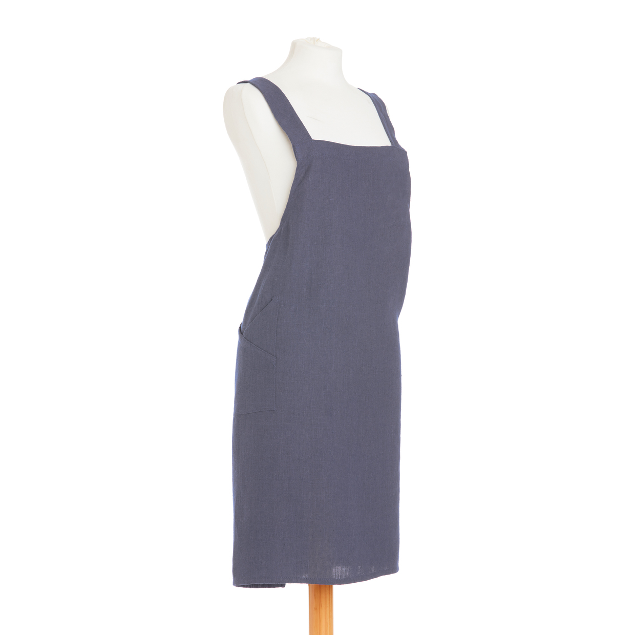 British Textile Co Linen Crossover Denim Kitchen Apron-100/% Linen-Made in the UK