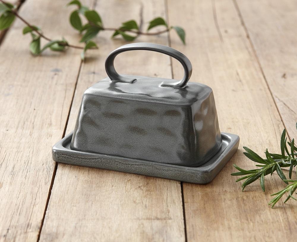 Roast Range Ladelle Stoneware Butter Dish w// Lid Dark Charcoal Unique Design